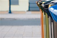 Close up of recycling bins on a paved street    Stock Photo - Premium Rights-Managednull, Code: 822-02315305