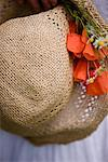 Extreme close up of a straw hat with red poppies and camomile flowers    Stock Photo - Premium Rights-Managed, Artist: ableimages, Code: 822-02315869