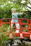 Couple Practicing Tai Chi on Footbridge    Stock Photo - Premium Rights-Managed, Artist: Raoul Minsart, Code: 700-02332677