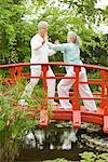 Couple Practicing Tai Chi on Footbridge    Stock Photo - Premium Rights-Managed, Artist: Raoul Minsart, Code: 700-02332683