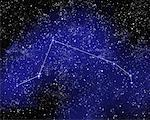 Outline of Constellation of Aries in Night Sky