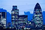 The Mary Axe Building and Tower 42 at Dusk, London, England    Stock Photo - Premium Rights-Managed, Artist: JW, Code: 700-02346409