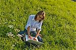 Woman in Meadow with Laptop Computer, Salzburg, Salzburger Land, Austria    Stock Photo - Premium Rights-Managed, Artist: Bryan Reinhart, Code: 700-02347528