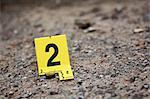 Evidence Tag on Crime Scene by Bullet Shell    Stock Photo - Premium Rights-Managed, Artist: Blue Images Online, Code: 700-02348213