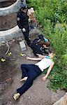 Police Officer and Paramedic with Corpse on Crime Scene, Toronto, Ontario, Canada    Stock Photo - Premium Rights-Managed, Artist: Blue Images Online, Code: 700-02348267