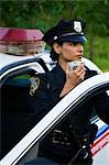 Police Woman with Cruiser at Side of Road, Toronto, Ontario, Canada    Stock Photo - Premium Rights-Managed, Artist: Blue Images Online, Code: 700-02348271