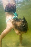 Little Girl Doing Handstand Underwater, Long Lake, Naples, Maine, USA    Stock Photo - Premium Rights-Managednull, Code: 700-02348569