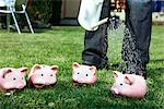 Person Watering Piggy Banks    Stock Photo - Premium Rights-Managed, Artist: Leonardo, Code: 700-02371635