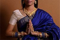 singapore traditional costume lady - Indian woman with hands held in prayer position Stock Photo - Premium Royalty-Freenull, Code: 655-02375858
