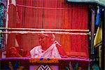 Woman Weaving Carpet with Loom, Morocco