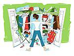 Illustration of Woman Looking in Cluttered Closet    Stock Photo - Premium Royalty-Free, Artist: Lisa Brdar, Code: 600-02377761