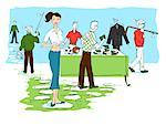 Illustration of Woman Selling Men's Items at Yard Sale    Stock Photo - Premium Royalty-Free, Artist: Lisa Brdar, Code: 600-02377762