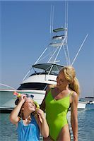 preteen swimsuit - Mature woman with her daughter at the seaside    Stock Photo - Premium Rights-Managednull, Code: 837-02378701