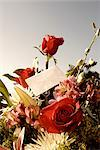 Close-up of a bouquet of flowers with an envelope    Stock Photo - Premium Rights-Managed, Artist: Glowimages, Code: 837-02379502