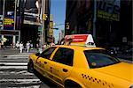 Yellow taxi on the road, Times Square, Manhattan, New York City, New York State, USA    Stock Photo - Premium Rights-Managed, Artist: Glowimages, Code: 837-02381245