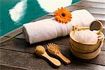 Spa products at the poolside    Stock Photo - Premium Rights-Managed, Artist: Glowimages, Code: 837-02382409