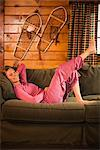Woman Relaxing on Couch    Stock Photo - Premium Royalty-Free, Artist: Ty Milford, Code: 600-02386179