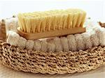 Still Life of Bath Brush and Washcloth    Stock Photo - Premium Rights-Managed, Artist: Natasha Nicholson, Code: 700-02428791