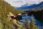 Freight Train Through the Rocky Mountains, Bow River, Bow Valley, Near Lake Louise, Banff National Park, Alberta, Canada