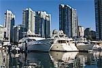 Motorboats and Yachts on False Creek, Housing Development in the Background, Vancouver, British Columbia, Canada    Stock Photo - Premium Rights-Managed, Artist: Moritz Schönberg, Code: 700-02519098