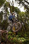 Mountain Biker Performing a Stunt, Blackrock Mountain Bike Park, Near Salem, Oregon, USA