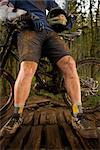 Close-up of Mountain Biker's Legs, Blackrock Mountain Bike Park, Salem, Oregon, USA