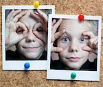 Photographs of Boy on Corkboard Stock Photo - Premium Rights-Managed, Artist: Andrew Kolb, Code: 700-02590932