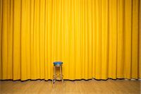 Stool on Stage with Yellow Curtains    Stock Photo - Premium Rights-Managednull, Code: 700-02593837