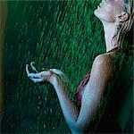 Woman Standing in the Rain at Night    Stock Photo - Premium Rights-Managed, Artist: Natasha Nicholson, Code: 700-02594264