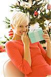 Portrait of Woman With Christmas Present    Stock Photo - Premium Rights-Managed, Artist: Raoul Minsart, Code: 700-02594333
