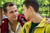 A gay couple looking at each other Stock Photo - Premium Royalty-Freenull, Code: 614-02613440