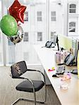 Birthday balloons tied to office chair Stock Photo - Premium Royalty-Free, Artist: Peter Christopher, Code: 635-02614455