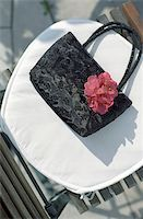Handbag made of shiny Cloth on a Lawn Chair - Accessory - Textiles Stock Photo - Premium Royalty-Freenull, Code: 628-02615739