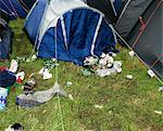 Litter Surrounding Tents at Glastonbury Festival, South West England, England    Stock Photo - Premium Royalty-Free, Artist: Michael Clement, Code: 600-02633567