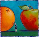 Illustration of Woman Comparing Apples to Oranges    Stock Photo - Premium Royalty-Free, Artist: James Wardell, Code: 600-02633753