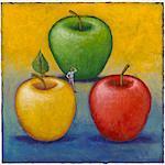 Illustration of Man Choosing From Three Apples