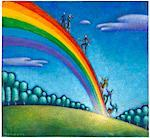 Illustration of People Climbing a Rainbow