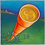 Illustration of People Looking at Money Through Telescope