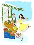Illustration of Woman Flirting with Grocer    Stock Photo - Premium Royalty-Free, Artist: Lisa Brdar, Code: 600-02633837