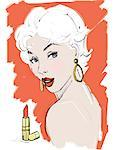 Illustration of Woman with Lipstick    Stock Photo - Premium Royalty-Free, Artist: Lisa Brdar, Code: 600-02633839