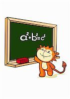 students learning cartoon - A cartoon tiger standing in front of a blackboard Stock Photo - Premium Royalty-Freenull, Code: 653-02635426