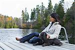Woman on Dock with Dog    Stock Photo - Premium Rights-Managed, Artist: Pierre Arsenault, Code: 700-02637176