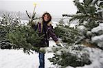 Woman Buying Christmas Tree, Salzburg, Austria    Stock Photo - Premium Rights-Managed, Artist: Bryan Reinhart, Code: 700-02637526