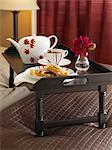 Tray with Tea and Pastries on Bed    Stock Photo - Premium Rights-Managed, Artist: Yvonne Duivenvoorden, Code: 700-02669196