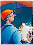 Illustration of Man Wearing Hardhat holding Clipboard with Checklist Stock Photo - Premium Royalty-Free, Artist: James Wardell, Code: 600-02670693