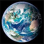 Blue Marble image of Earth. Composite satellite image of Earth's western hemisphere, centred on the Atlantic Ocean. North is at top. The image is one of a set entitled Blue Marble: NextGeneration, released in October 2005, whichimproves upon Blue Marble 2000. The new images combine data collected over a longer period of time at an improved resolution of 500 metres per pixel. Features include cloud Stock Photo - Premium Royalty-Free, Artist: Rick Fischer, Code: 679-02682122