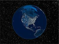 North America at night. Satellite image of the Earth at night, set against a background of stars, centred on the continent of North America. North is at top. City lights (yellow) show areas of dense population. The highest concentrations of population are on the West and East coasts, in cities such as San Francisco and New York. Inland, the continent is well-developed in the east, but the Great Pl Stock Photo - Premium Royalty-Freenull, Code: 679-02682140