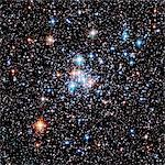 Open star cluster NGC 290. This cluster of young stars lies in the Small Magellanic Cloud, a dwarf galaxy orbiting our Milky Way. Spanning approximately 65 light years, the cluster is 200,000 light years from the Earth in the constellation Tucana. This photograph was taken by the Hubble Space Telescope (HST). Stock Photo - Premium Royalty-Free, Artist: Cusp and Flirt, Code: 679-02684153