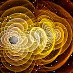 Black holes merging. Image 1 of 2. Supercomputer simulation of two non-spinning black holes (grey discs right and left of centre) merging. According to Einstein's theory of general relativity, the merger of two massive objects causes ripples (yellow lines) in space-time. These ripples, known as  gravitational waves  travel at the speed of light but have not been observed directly. A black hole is