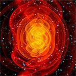 Merged black holes. Image 2 of 2. Supercomputer simulation of two non-spinning black holes (brown disc at centre) that have merged together. According to Einstein's theory of general relativity, the merger of two massive objects causes ripples (orange lines) in space-time. These ripples, known as  gravitational waves  travel at the speed of light but have not been observed directly. A black hole i
